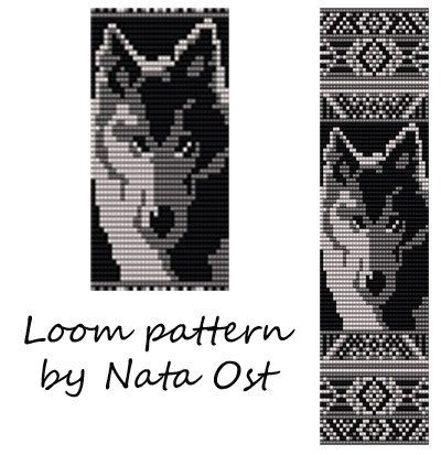 Beading Loom Pattern Bracelet Wolf Seed Bead Cuff by NataOst
