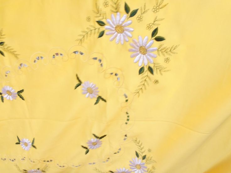 Vintage large tablecloth yellow with white embroidered flowers 106 ins x 70 ins   eBay