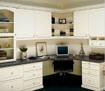 Corner Built In Desk. Lobe The Shelving And Cabinet Placement