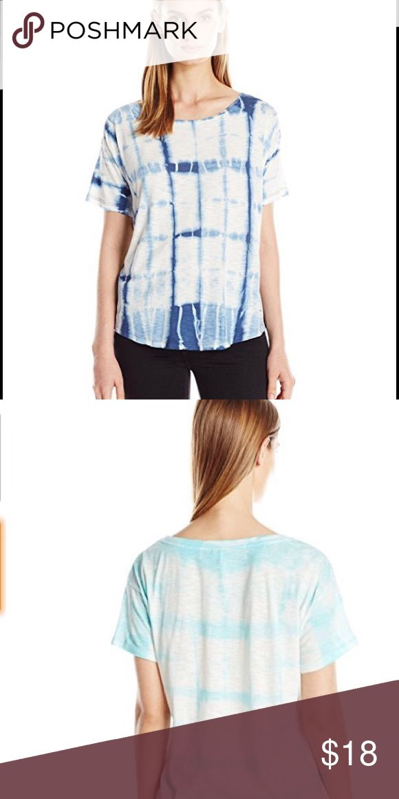 Calvin Klein Woman's Short Sleeve Tie Dye Shirt CK Jeans wear tee shirt in angel blue on     an off white background with relaxed fit On trend for summer and perfect with denim Size M 60% cotton/40% modal Very gently used and in perfect condition - $15 Calvin Klein Jeans Tops Tees - Short Sleeve