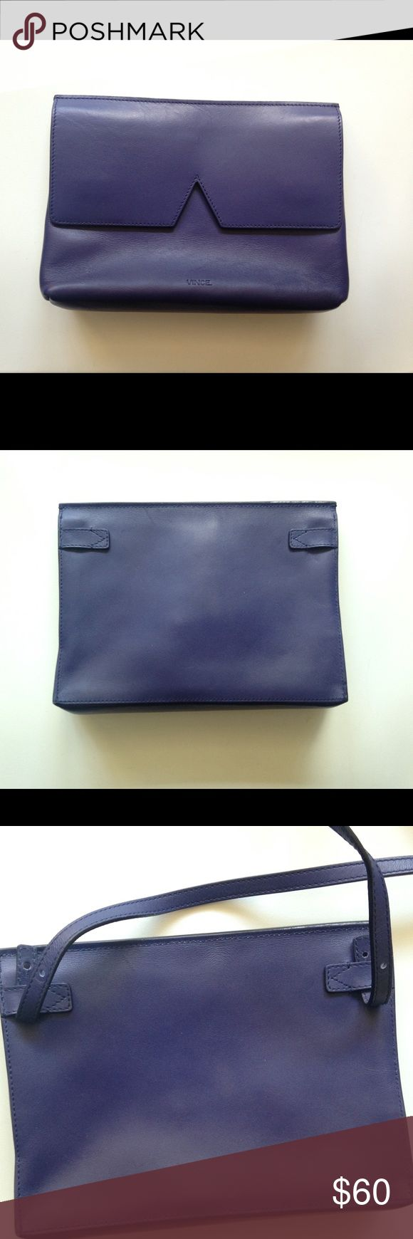 VINCE Signature Baby Crossbody Bag Amazing minimalist leather Crossbody bag in good shape but strap is missing the button closures - see pics. Can use as a clutch without strap but you can likely purchase some handbag replacement button closures online. Offers welcomed! Vince Bags Crossbody Bags