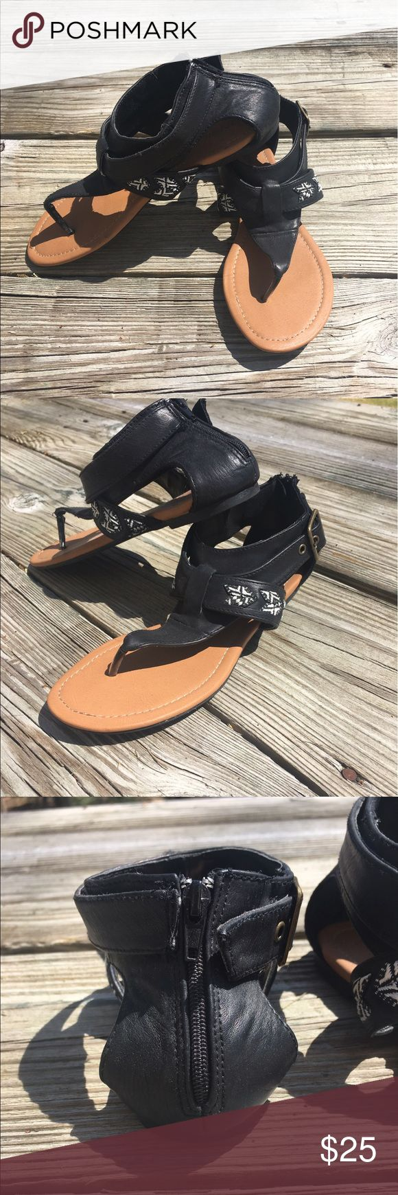 O'Neill Zip Up Sandal O'Neill Zip up black sandal with small Aztec design. NEW NEVER WORN! O'Neill Shoes Sandals