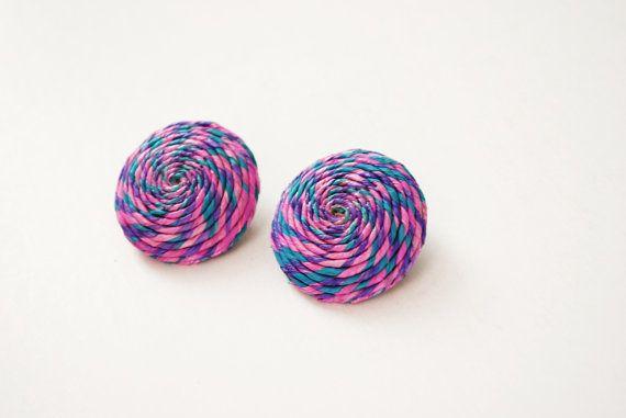 Vintage Clip On Earrings Spiral Earrings Straw by SoulSisters16