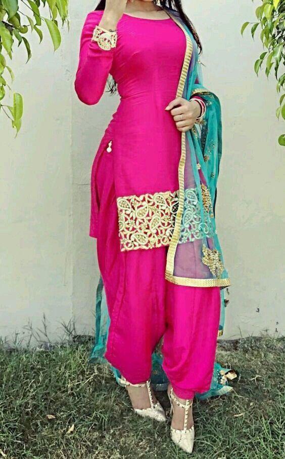 Hot Pink Punjabi Salwar Suit With Golden Handwork On -2618