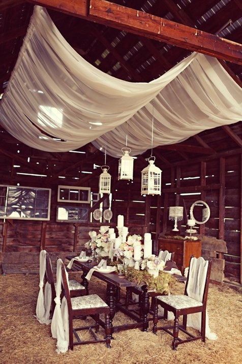 Beautiful Idea for a barn wedding. Love the fabric and hanging lanterns!