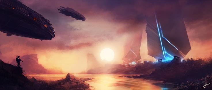 Sunset, a sci-fi digital drawing.