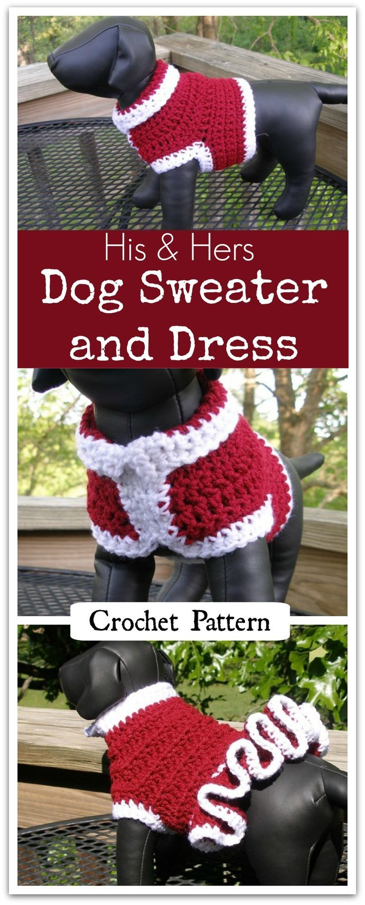 "His and Hers Cheerleader Dog Sweater and Dress - Make this little sweater up in your school colors or your favorite ""Fan Colors"" and have it ready for the next game. Instant PDF download #ad #affiliate #crochet #pattern"