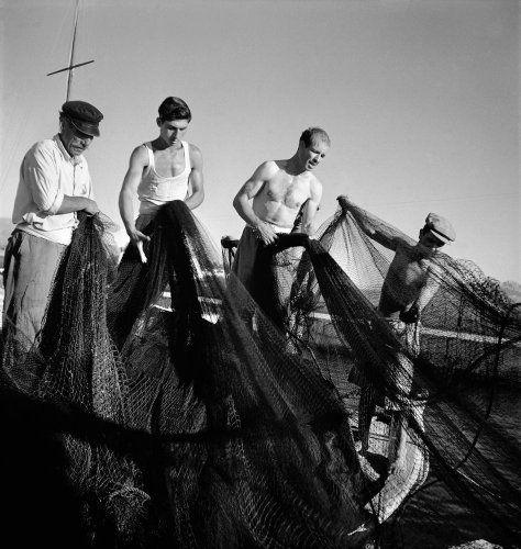 Ψαράδες μαζεύουν δίχτυα. Αίγινα, 1950-1955 Βούλα Θεοχάρη Παπαϊωάννου