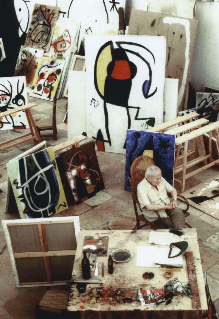 Joan Miró in his studio by Jean-Marie del Moral, 1978
