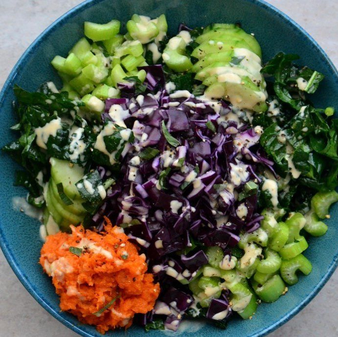 A Wintry Sweet Potato Kale Salad with Creamy Chickpea Dressing - Sonima