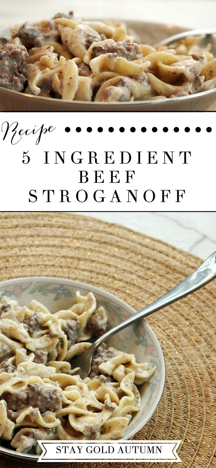 An easy to make 5 ingredient beef stroganoff recipe that keeps you from spending all day in the kitchen without sacrificing taste! | Stay gold Autumn