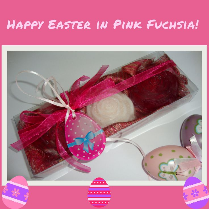 Treat your loved ones to something a little different this Easter - Show them your love by giving this excellent and unusual gift !!! Pretty Handmade Gift Set with three Luxury Vegan Scented Soaps - two Fuchsia Colour, pomegranate scent and one light pink, rose fragrance - and a special handmade glass decorative Pink-Purple Easter Egg in the packaging. The glass decorative Easter Egg can also be used as Necklace or Easter ornament.