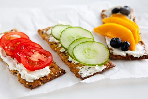Cream Cheese and Veggies/Fruits -- Flatbread snacks with your favorite fruits and vegetables make for a healthy snack. Add some healthy to your day with Old London. oldlondonfoods.com #flatbread #snacks #easy