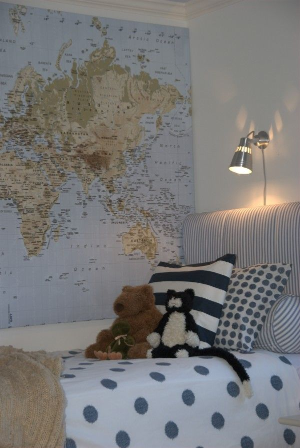 Boy's bedroom: love the wall map (I used Ralph Lauren map wallpaper on my son's four bedroom walls); love the light, the bedding (Ikea); slipcovered headboard (Ikea)