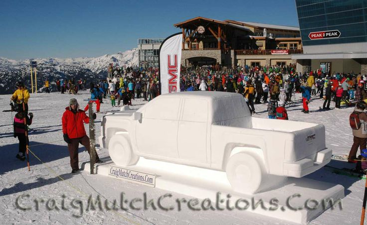 GMC Snow Sculpture on Whistler Mountain BC Canada created by www.CraigMutchCreations.Com