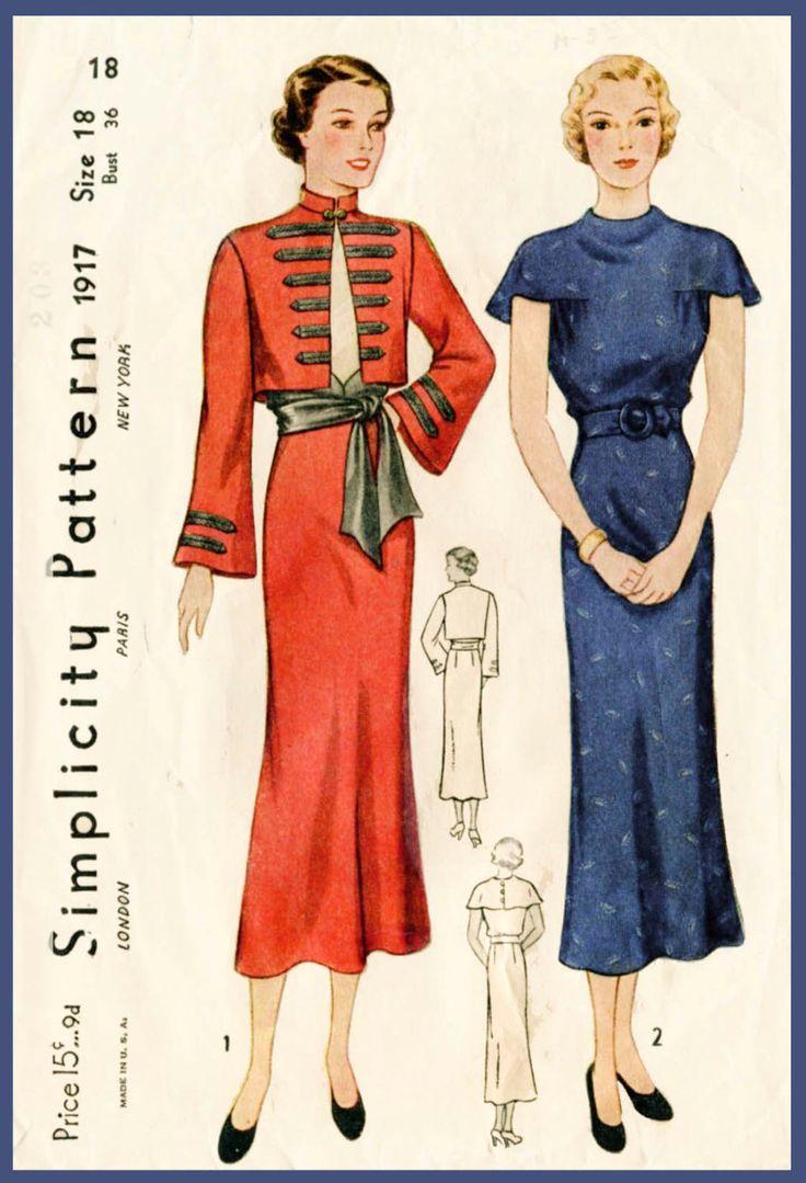 8258 bsta bilderna om vintage sewing patterns 2 p pinterest 1930s 30s vintage sewing pattern day dress sash skirt military jacket bolero bust 36 b36 repro jeuxipadfo Choice Image