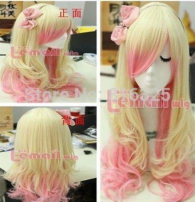 БЕСПЛАТНО P & P>>> cCos Harajuku Светлый Блондин/Розовый Mix Жаропрочных Косплей ПАРИК