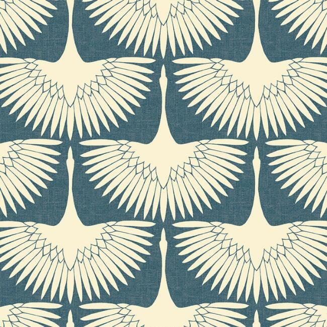 Blue And White Art Deco Cranes Peel And Stick Wallpaper Peel And Stick Wallpaper Wallpaper Removable Wallpaper