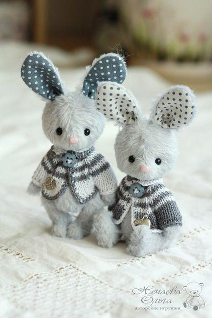 Tiny teddy toy Bunnies / Мишки Тедди ручной работы. Ярмарка Мастеров - ручная работа. Купить Тася и Ася (11 см). Handmade. Голубой, зайчонок