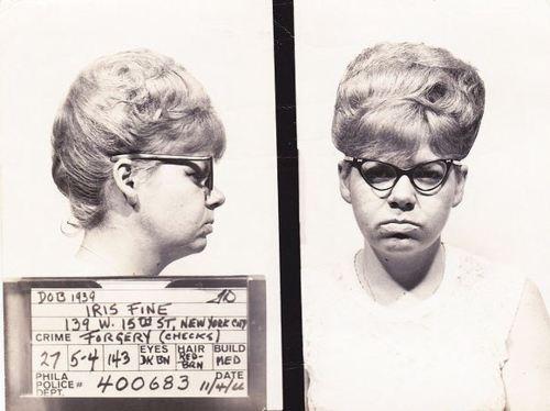vintage mugshot, forging a prescription?  Probably for valium, mother's little helper....