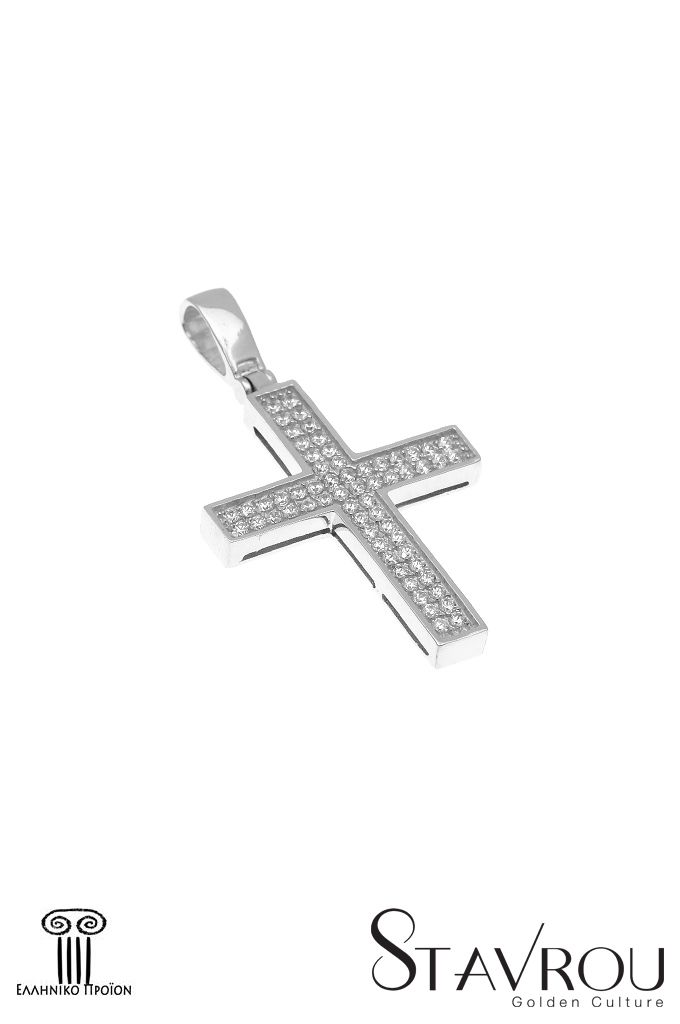 Γυναικείος σταυρός,με ζιργκόν,σε λευκό χρυσό Κ14  Ένα διαχρονικό σχέδιο, ιδανικός γιαβαπτιστικός σταυρός, ή γιαδώρο νύφηςσεαρραβώνες ή γάμο. #σταυροί_βάπτισης #βαπτιστικοί_σταυροί #χειροποίητα_κοσμήματα #γυναικείοι_σταυροί  #σταυροί #σταυροί_με_ζιργκόν
