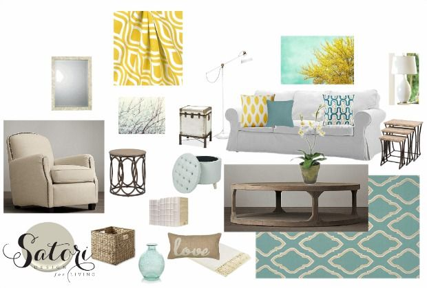 Teal and Yellow Living Room Decor Mood Board | Satori Design for Living E-Design Project