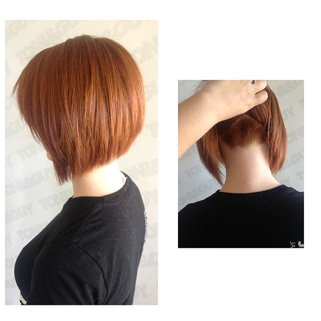 Some serious weight removal on Olivia. Didn't even cut off much length really ! All thanks to my @hanzonation texturizing shears. #toniguyusa #undercut #redhead