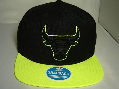 Adidas NBA Chicago Bulls Wool Black Green 2 tone Snapback Cap