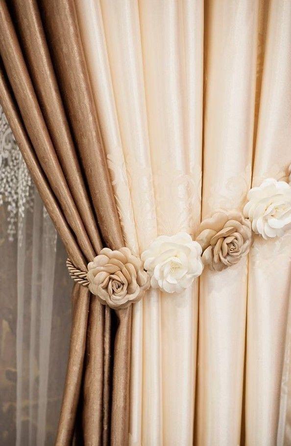 Curtain Tie Backs. Luxury Floral Rose Beige Brown Curtain Tiebacks - 1pc