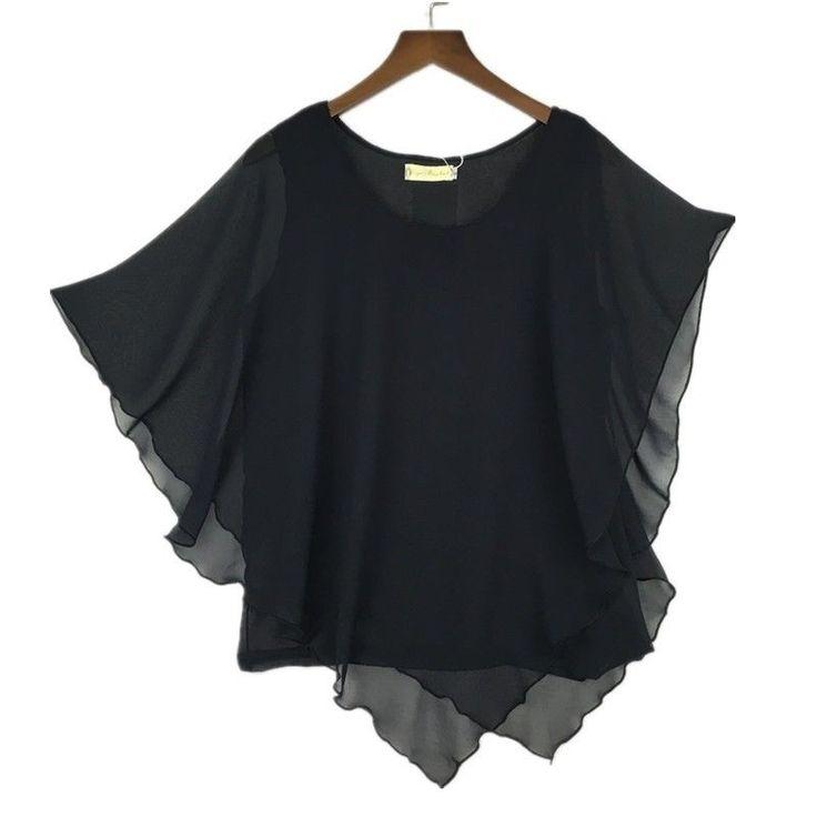 Plus size S-6XL Ladies Chiffon Blouses Shirt Batwing Asymmetric Sleeves Black #Unbranded #Blouse #Casual