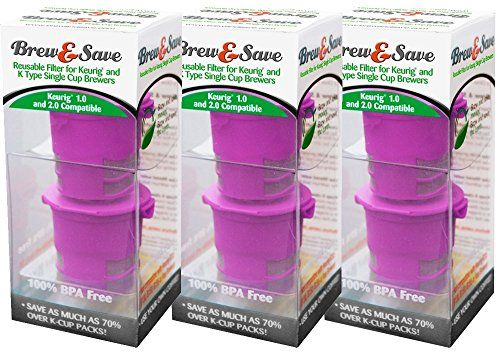 Brew and Save Refillable K Cup for Keurig 2.0 and 1.0 Brewers, 6-count