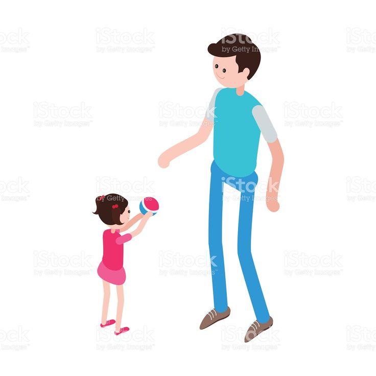 Isometrici uomo e bambino. Illustrazione 92532987 - iStock
