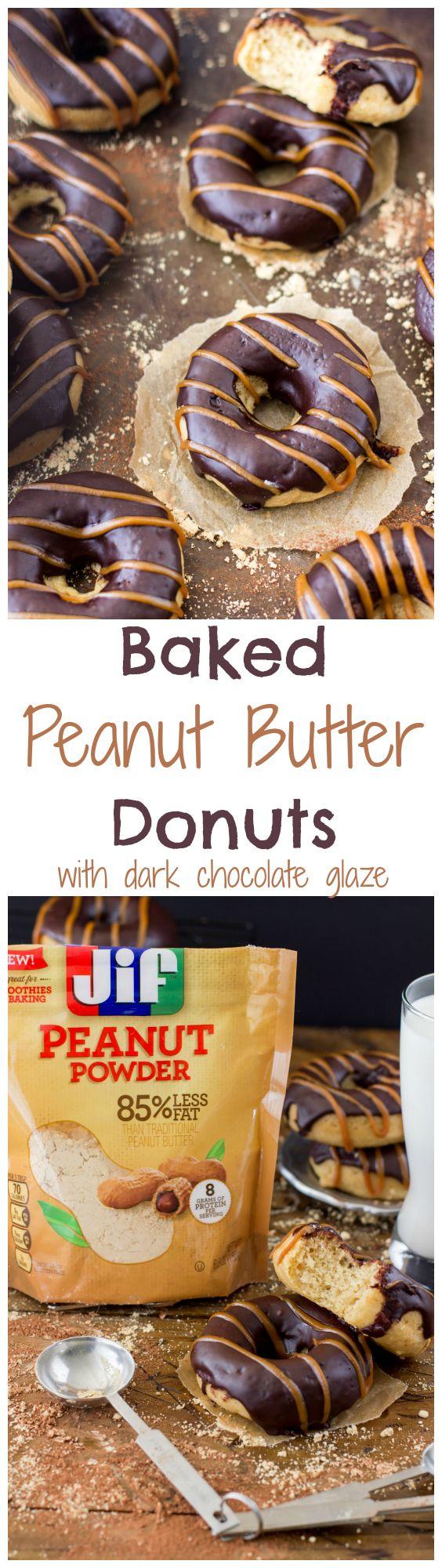 Baked Peanut Butter Donuts made with Jif Peanut Powder #StartWithJifPowder #ad -- SugarSpunRun.com
