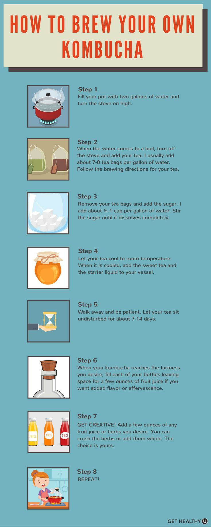 Ever wondered how to make your own kombucha?? Its easier than you think! Follow these steps to make your own kombucha at home!