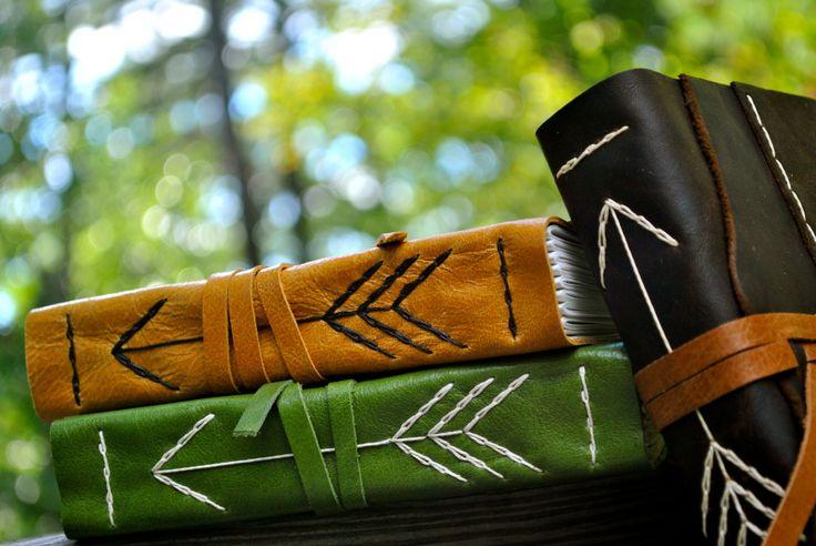 hand stitched, original arrow spine leather journals, tarjick.