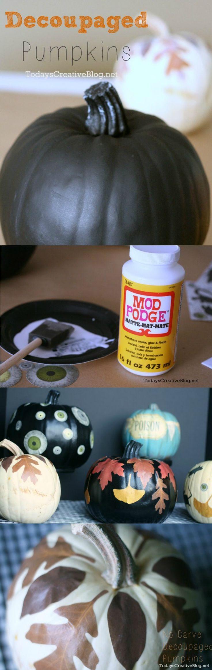 No Carve Pumpkins | Halloween | Decoupaged Pumpkins | Mod Podge | TodaysCreativeBlog.net