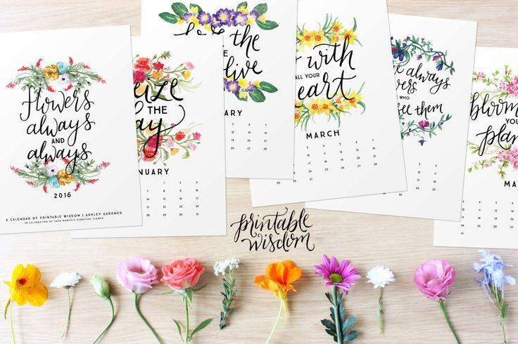 Printable Wisdom Calendar 2016, Inspirational quotes printable 2016 calendars, quote art print, month year desk watercolor calendar by PrintableWisdom on Etsy https://www.etsy.com/listing/207725498/printable-wisdom-calendar-2016