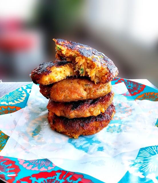 indian spiced sweet potato patties
