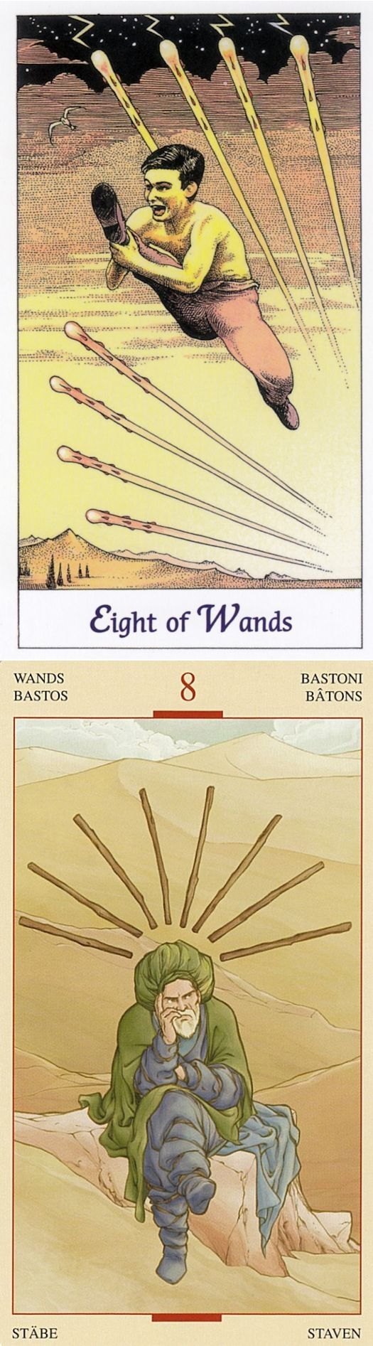 Eight of Wands: motion and waiting (reverse). Cosmic Tarot deck and Holy Grail Tarot deck: tarot gratuit online, tarot bag vs tarot cards explained. Best 2018 ritual sacrifice and tarot card tattoo. #tarot #happyhalloween #temperance #selfempowerment #spell