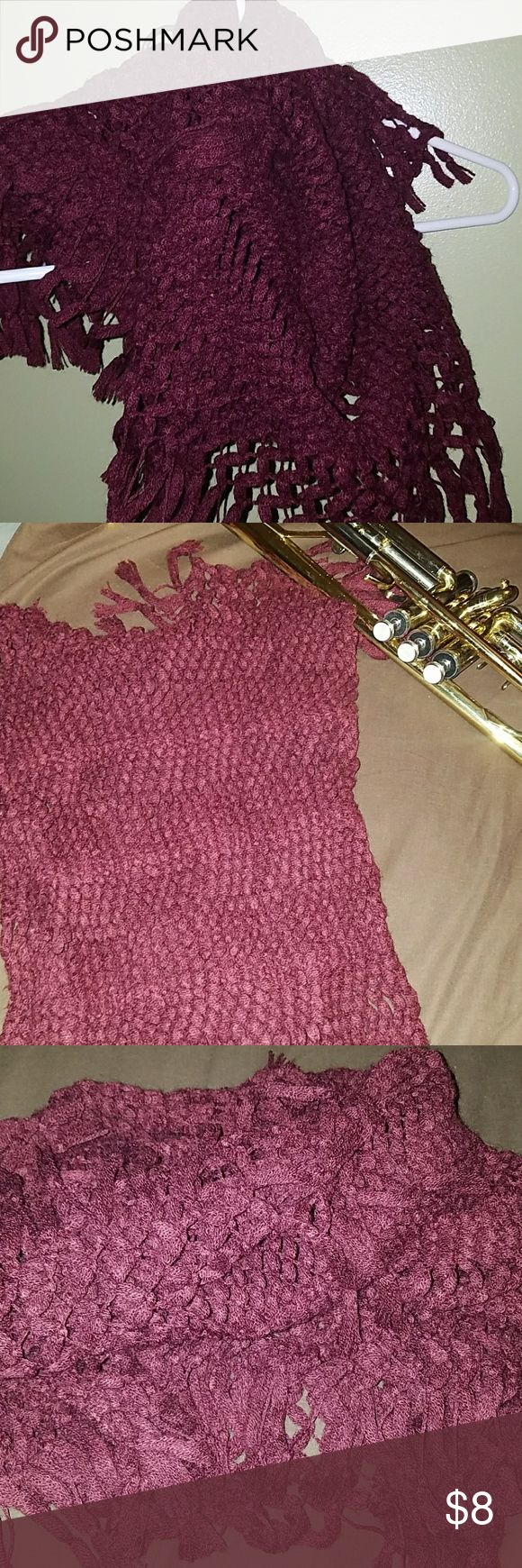 Burgundy scarf with tassles Burgundy knit infinity scarf. Super warm and so soft. Brand is Abercrombie, but I took the tag off because it was scratchy and visible. Abercrombie & Fitch Accessories Scarves & Wraps