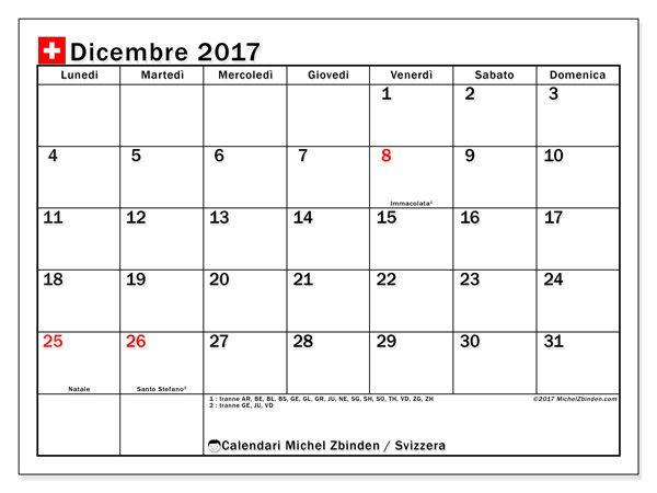 Calendario per stampare dicembre 2017 - Giorni festivi in Svizzera