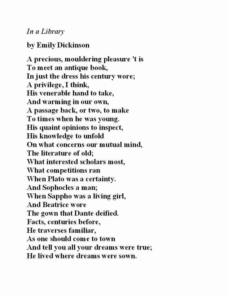 an analysis of the poetry by emily dickinson I love football, chainsaws, boxing, dogs, and wrestling i am, in short, a man's man that doesn't mean, however, that i don't read and appreciate love poems by emily dickinson.