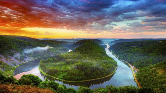 Saar River near SaarLouis, GermanyNature, Sunsets, Colors, Beautiful, Rivers T-Shirt, France, Germany, Places, Saar Rivers