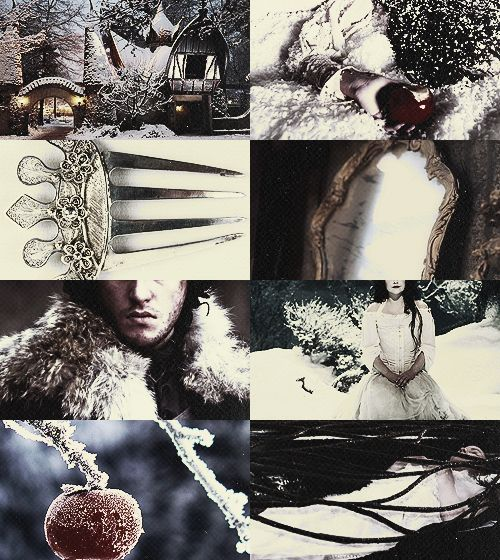 Once upon a time in the middle of winter, when the flakes of snow were falling like feathers from the sky, a queen sat at a window sewing, and the frame of the window was made of black ebony. And whilst she was sewing and looking out of the window at the snow, she pricked her finger with the needle, and three drops of blood fell upon the snow....