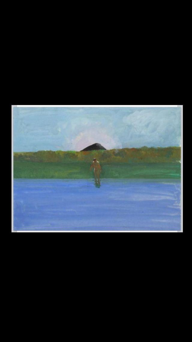 "Paul Wonner - ""Lake, Nude, Black Hill"" - 1967/68 - Casein on paper - 14 x 17 in."