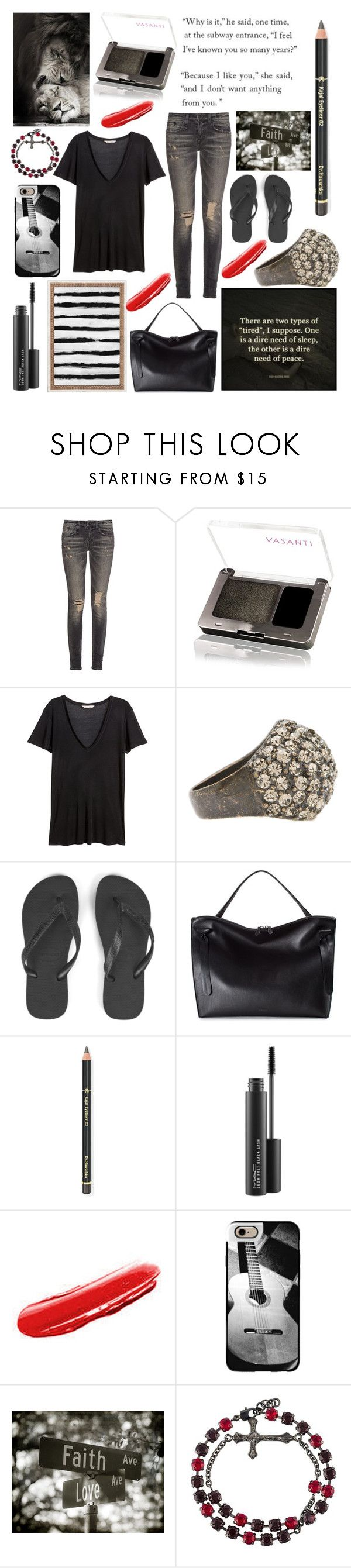 """""""The corner of Faith and Love"""" by royceri ❤ liked on Polyvore featuring R13, H&M, Havaianas, Jil Sander, Dr.Hauschka, MAC Cosmetics, Yves Saint Laurent, Casetify, Fahrenheit and WALL"""