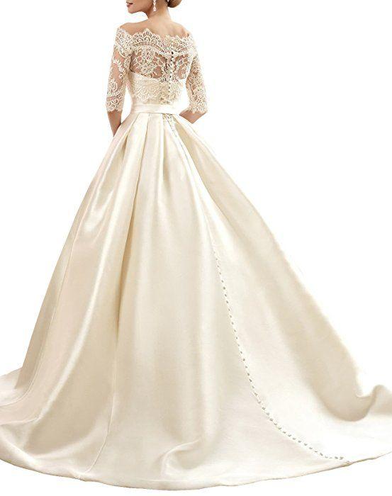 49c046af381268 Changjie Damen Bateau 3/4-Arm Brautkleider Hochzeitskleider Prinzessin  Hochzeitskleider A-linie Langarm