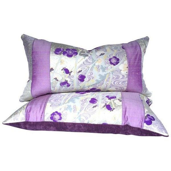 Japanese Lilac Cherry Blossom Obi Silk & Velvet Luxury Pillows - A... (960 DKK) ❤ liked on Polyvore featuring home, home decor, throw pillows, pillows, woven throw pillows, light purple throw pillows, cherry blossom home decor, lilac throw pillows and lavender accent pillows