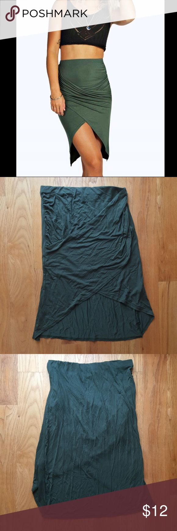 "Boohoo Green Drape Wrap Tulip Bodycon Midi Skirt Named the ""Delia Drape Asymmetric Hem Midi Skirt"" and the color is called ""khaki"" but is just a forest green color. Only worn once and in great condition. Feel free to make an offer! Boohoo Skirts Asymmetrical"