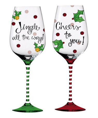 Take a look at this Will Kiss for Cocktails Hand-Painted Wineglass Set
